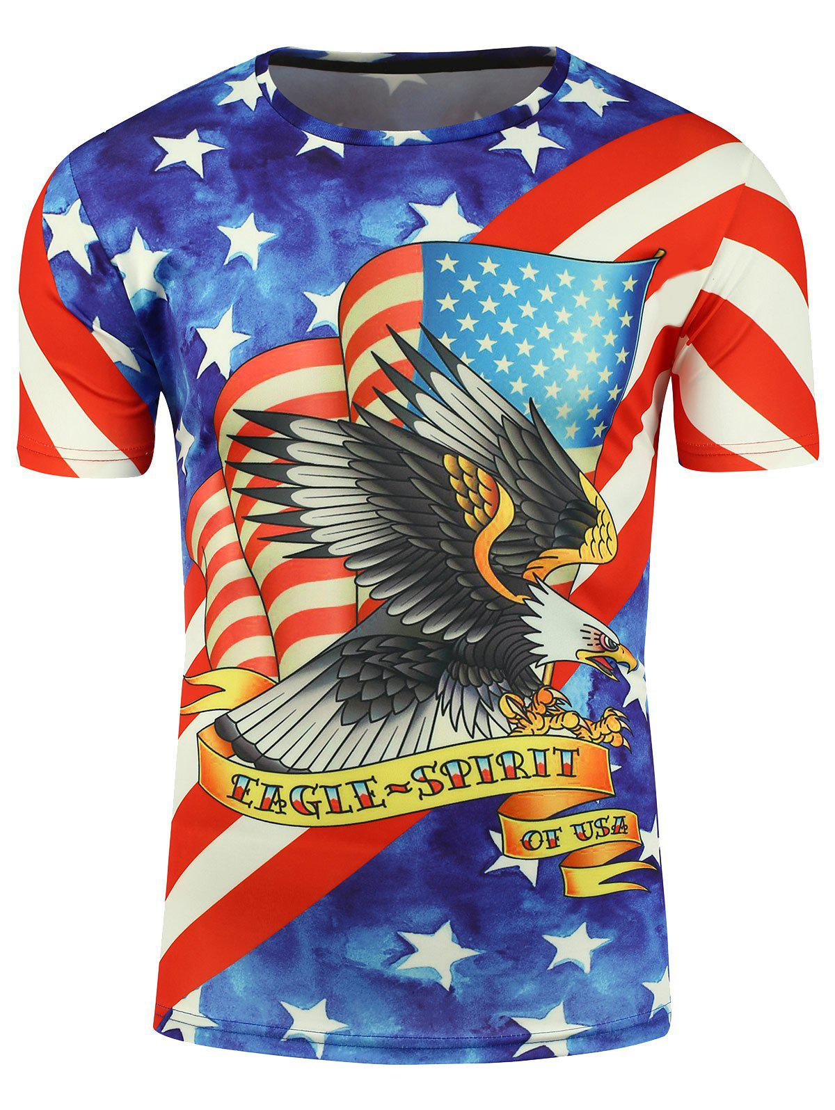 3D Eagle and American Flag Print Short Sleeve T-shirt - COLORMIX 3XL