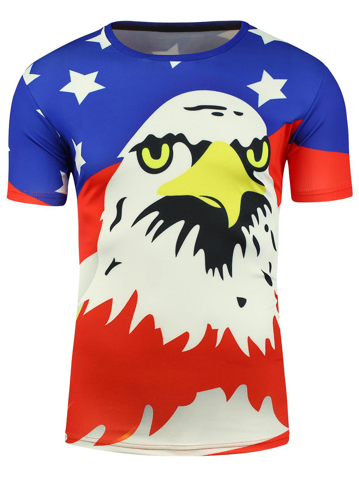 Short Sleeve Cartoon Eagle and American Flag Print T-shirt - COLORMIX XL