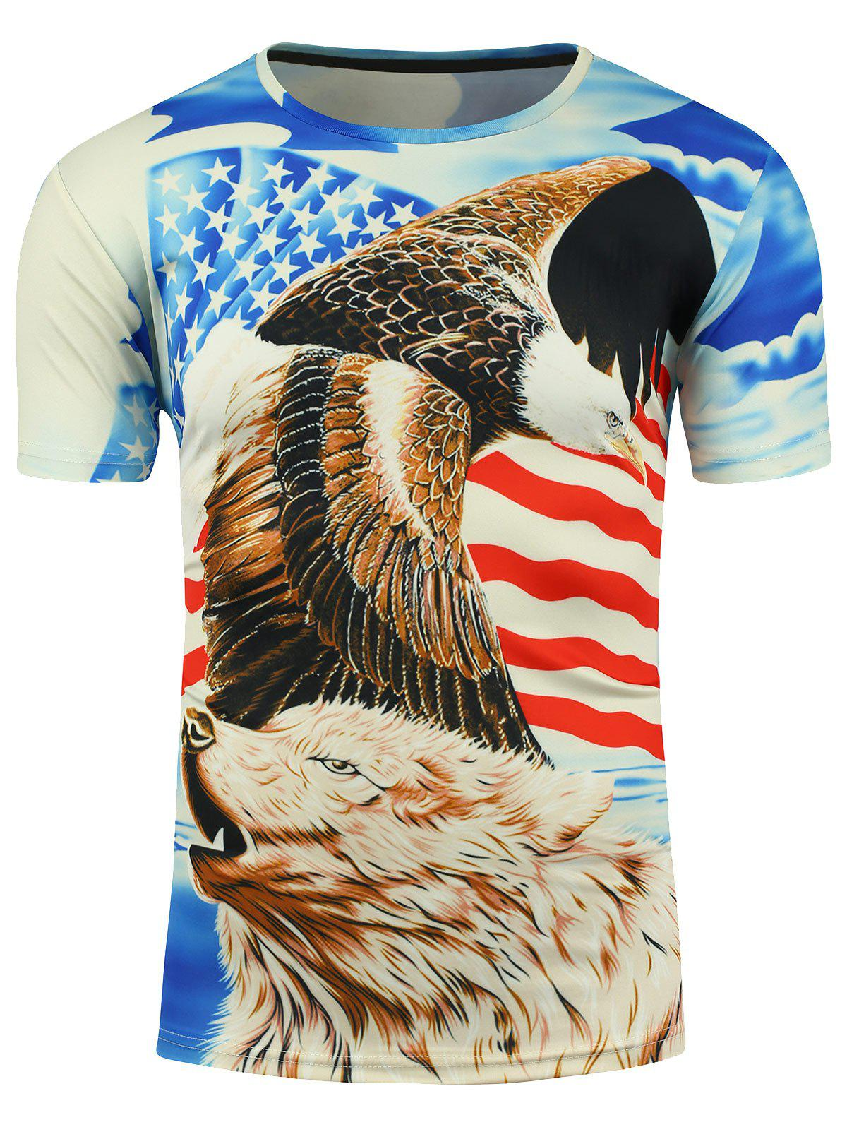 3D Eagle American Flag and Bear Print T-shirt