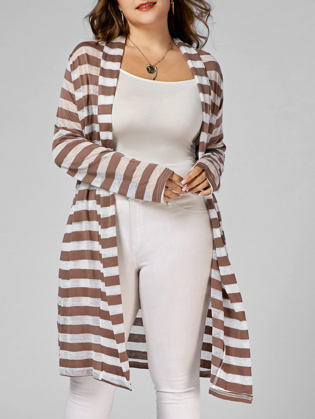Stripe Open Front Plus Size Longline Coat - Rayure 5XL