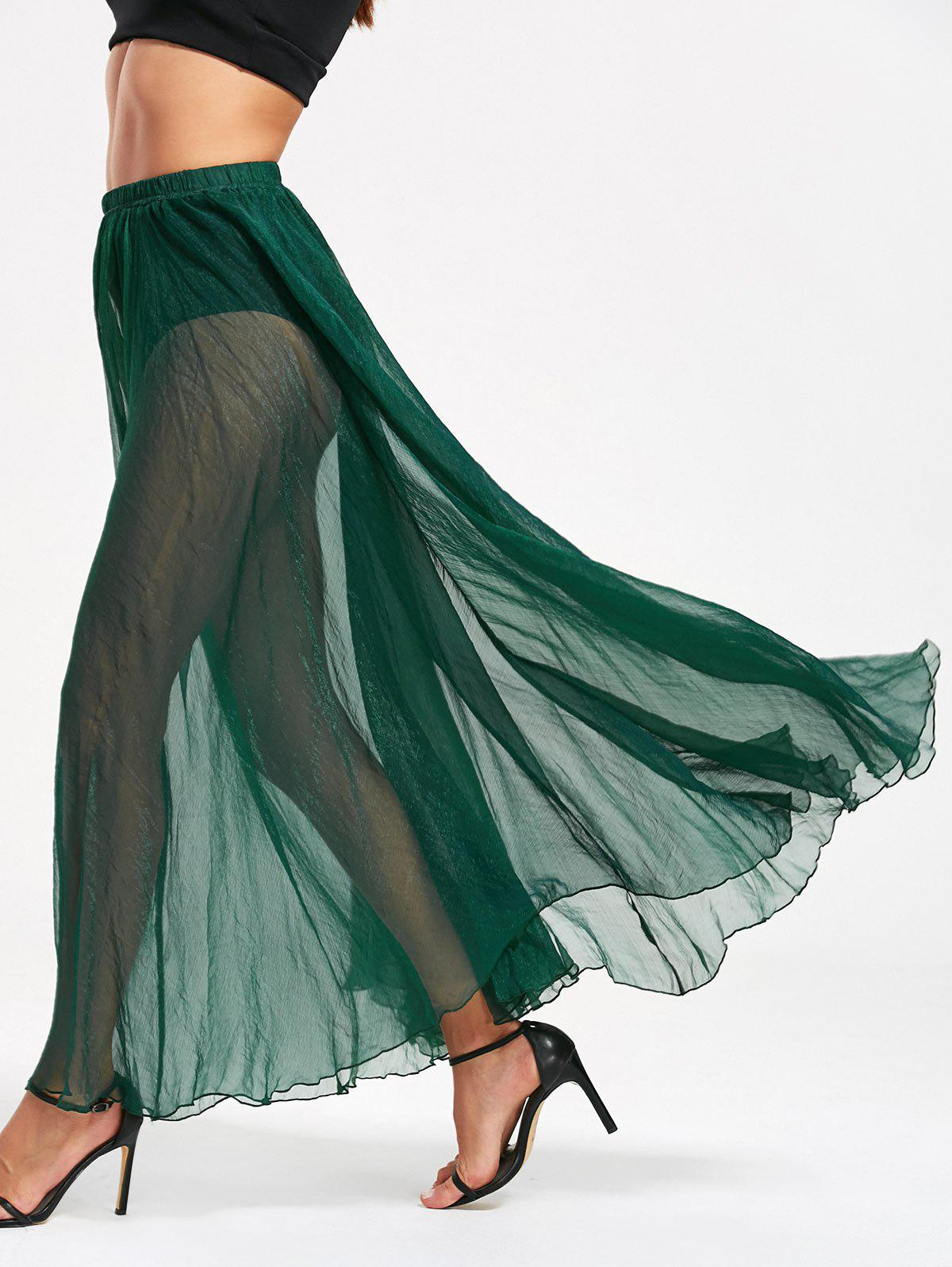 See Through High Waist Chiffon Maxi Skirt - GREEN XL