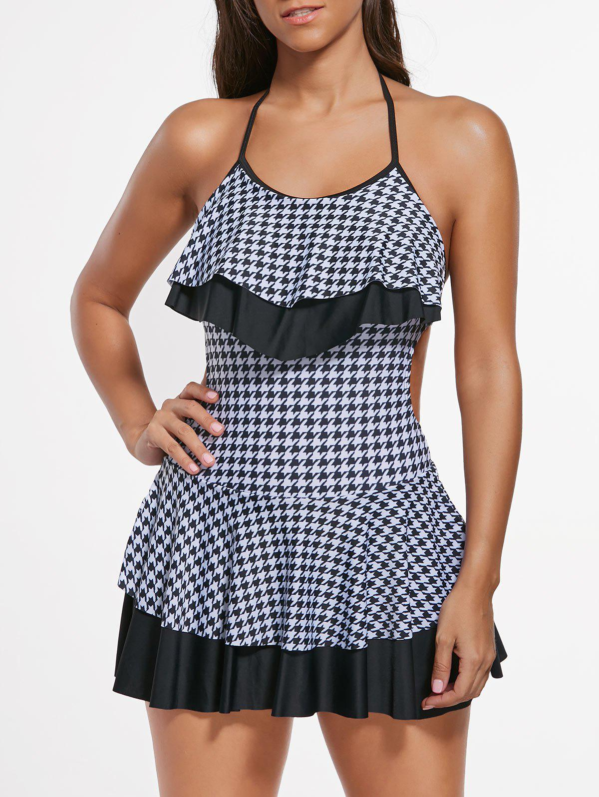 Houndstooth Flounce Skirted Swimsuit - Blanc et Noir L