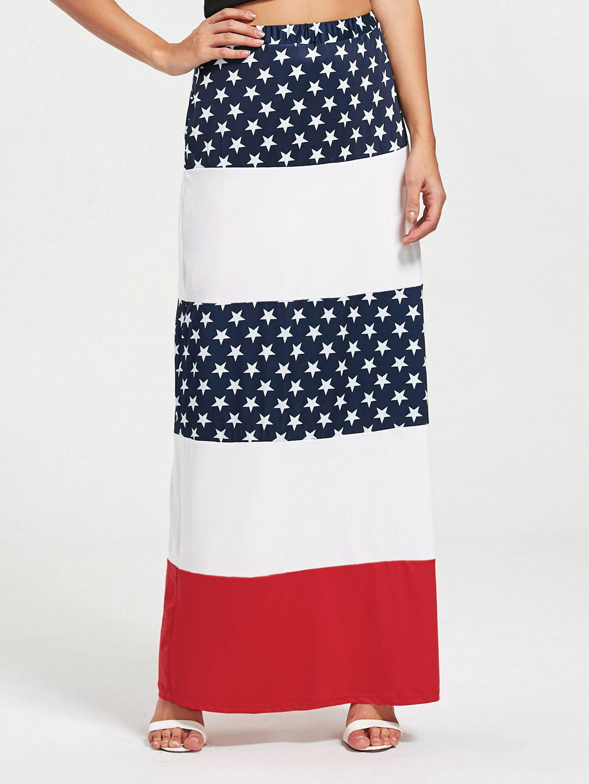 Stars and Stripes Maxi Straight Skirt - COLORMIX L