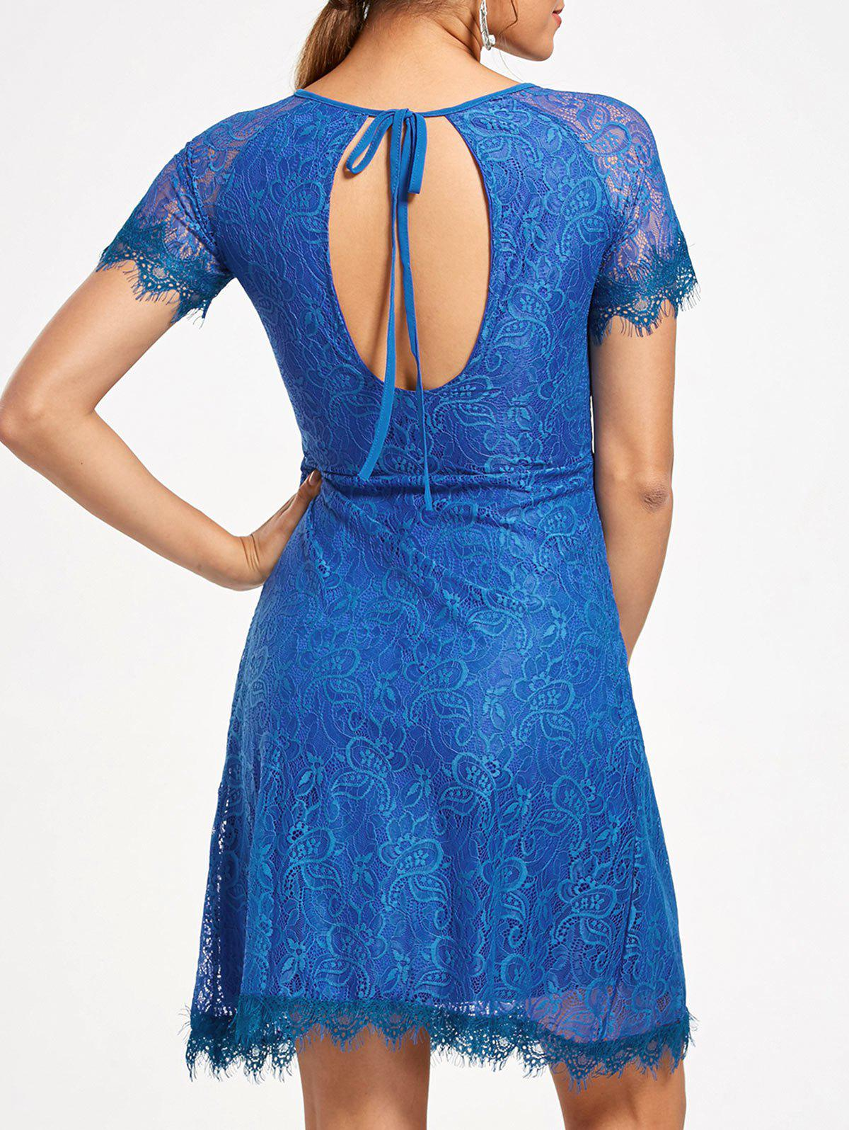 Short Raglan Sleeves Open Back Lace Dress - ROYAL L