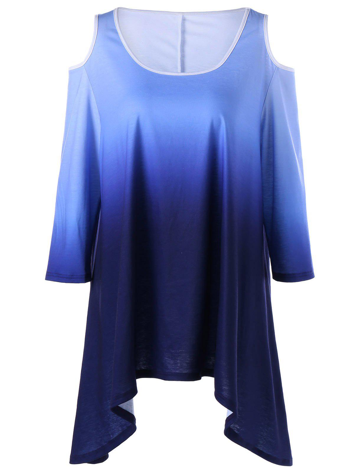 Plus Size Cold Shoulder Ombre Asymmetric T-shirt - COLORMIX 2XL