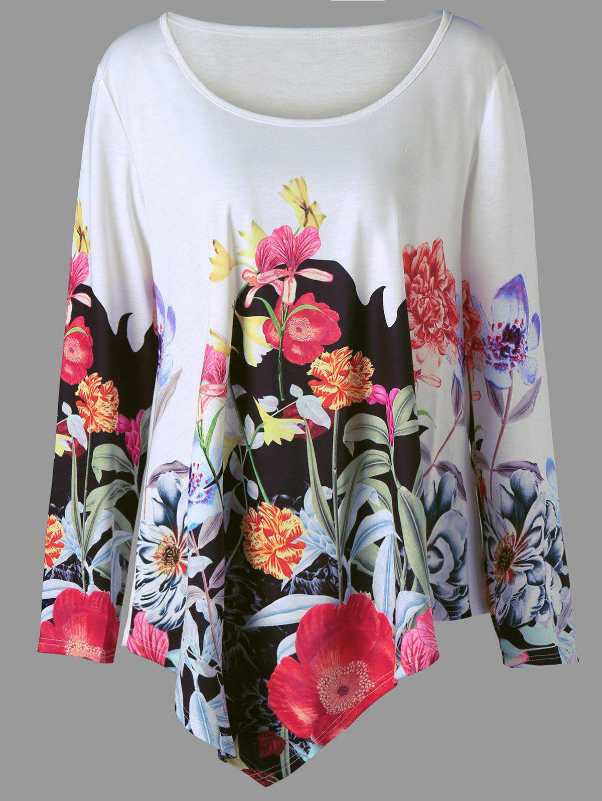 Plus Size 3D Floral Print Asymmetric T-shirt - COLORMIX 3XL