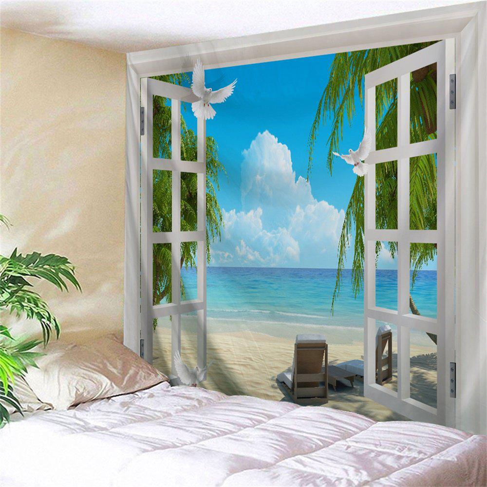 Beach Sea Window Print Tapestry Wall Hanging Art sea of clouds print tapestry wall hanging art