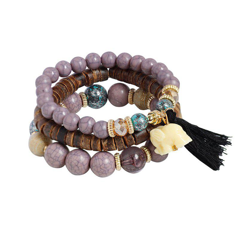 Jade Elephant Tassel Beaded Wooden Bracelet Set - PURPLE