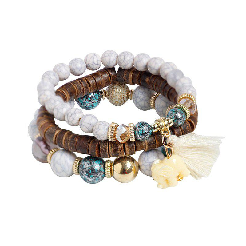Jade Elephant Tassel Beaded Wooden Bracelet Set - WHITE