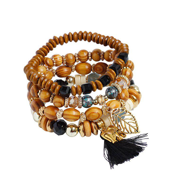 Tassel Elephant Leaf Wooden Beaded Bracelet Set - BLACK