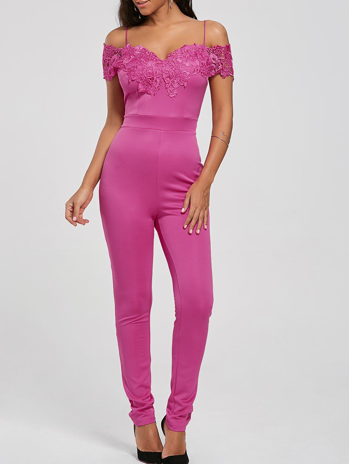 Lace Applique Low Cut Cold Shoulder Jumpsuit - TUTTI FRUTTI M