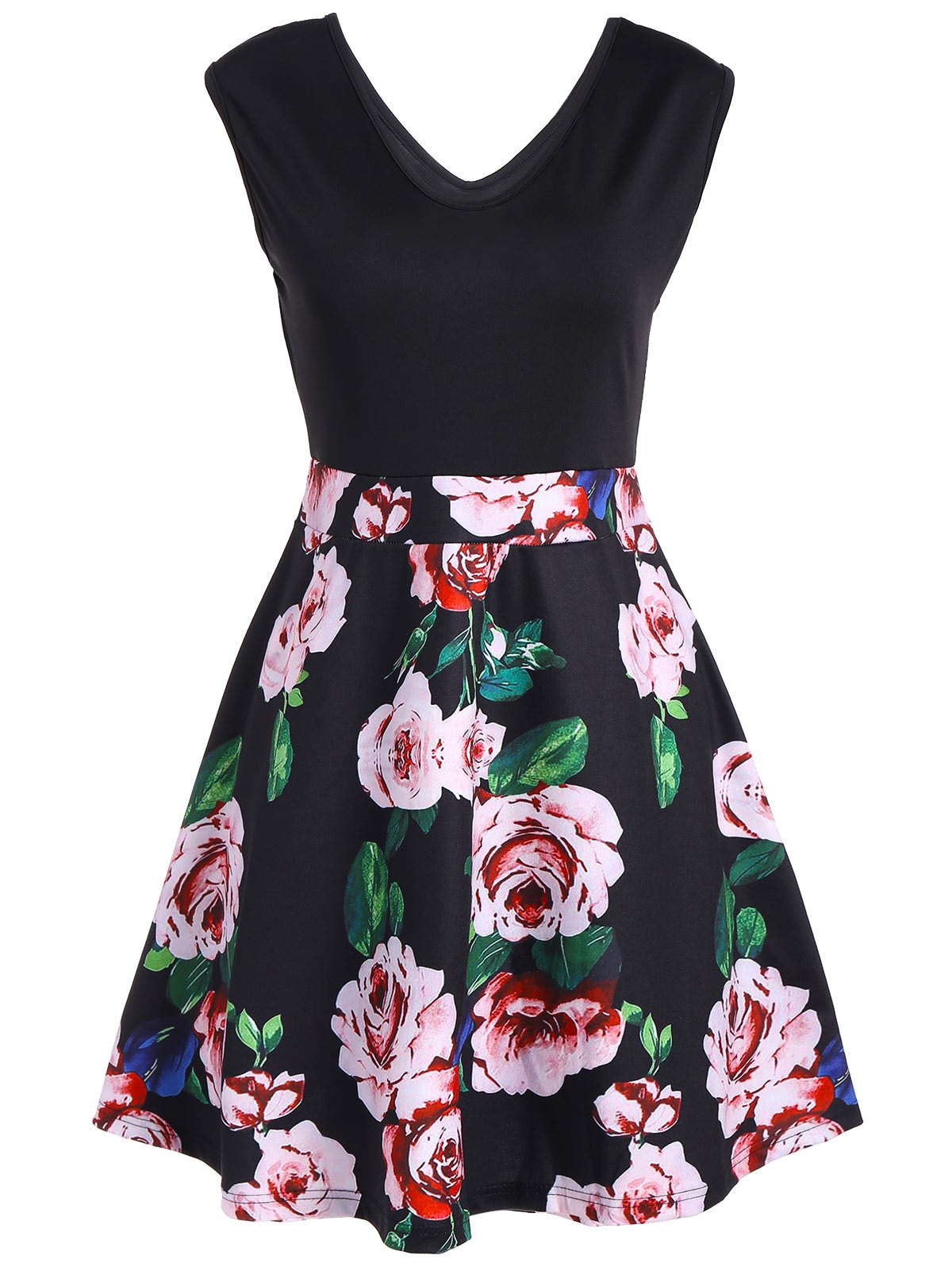 V Neck Floral Print Sleeveless Flare Dress - BLACK 2XL