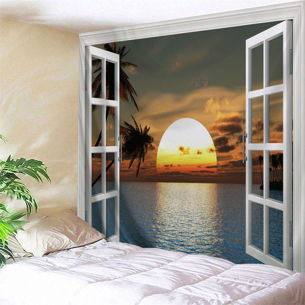 Faux Window Sunset Scenery Wall Hanging Tapestry window scenery rice field printed wall tapestry