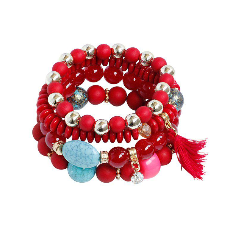 Rhinestone Charm Tassel Beaded Bracelet Set - RED