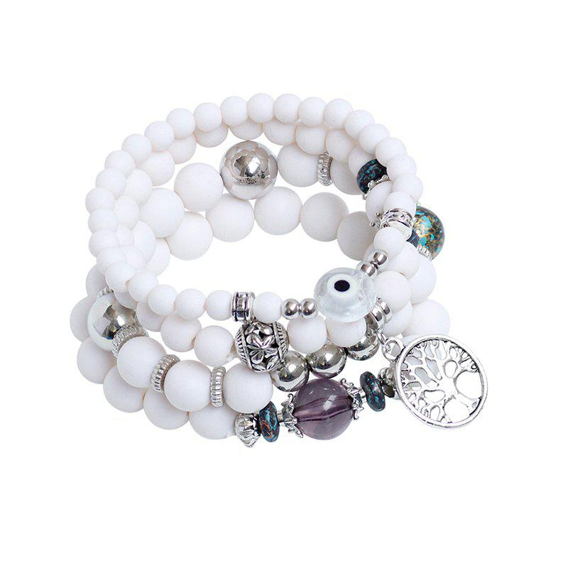 Tree of Life Charm Beaded Bracelets - WHITE