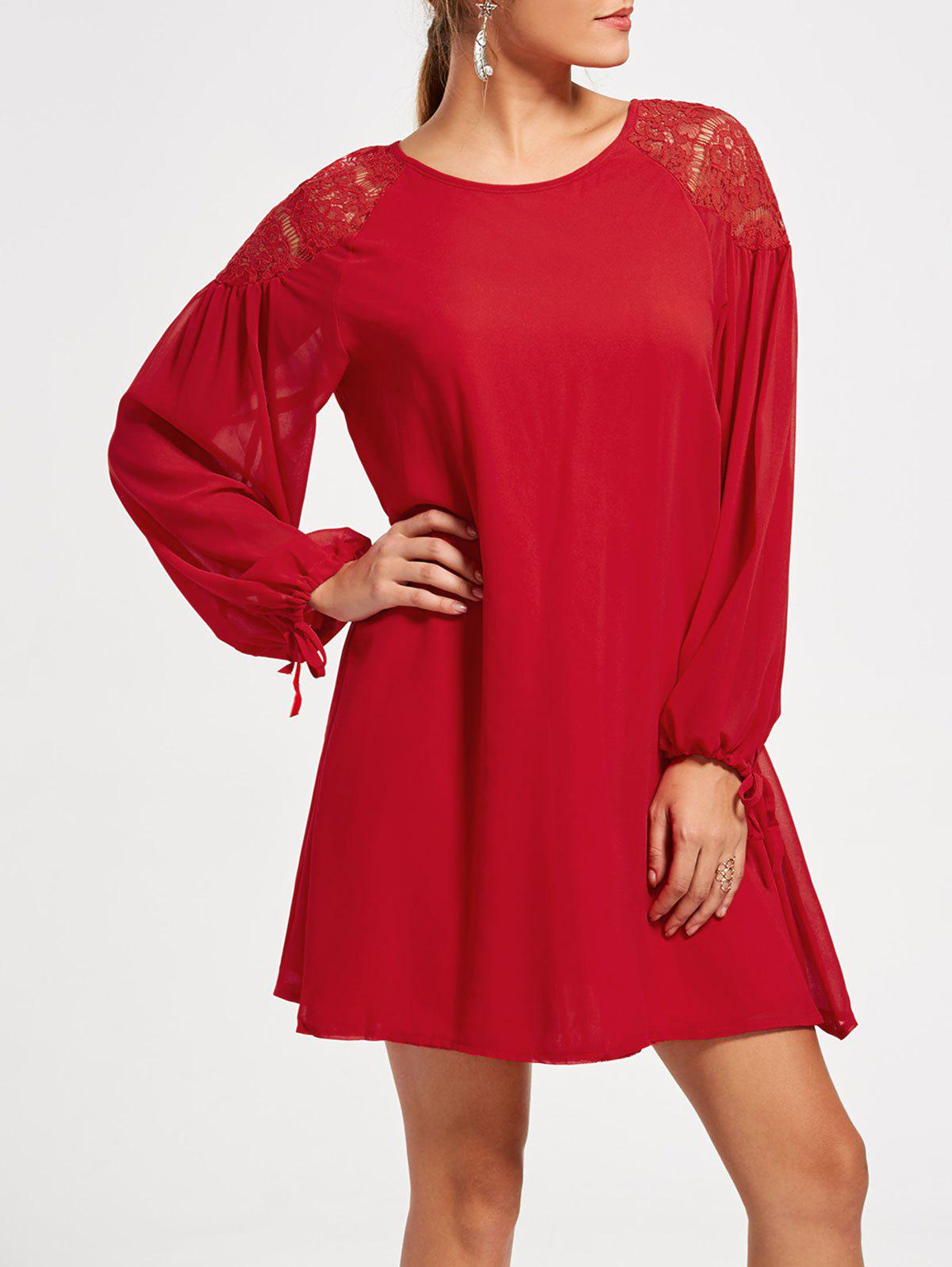 Raglan Long Puff Sleeve Casual Mini Swing Dress - RED M