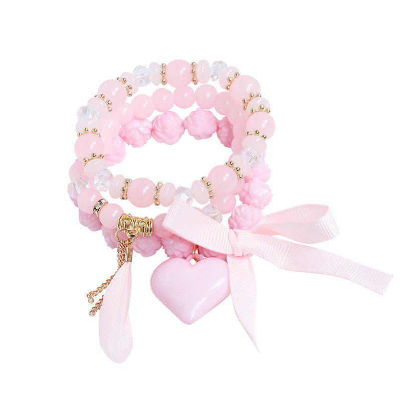 Feather Heart Ribbon Charm Beaded Bracelet Set - PINK