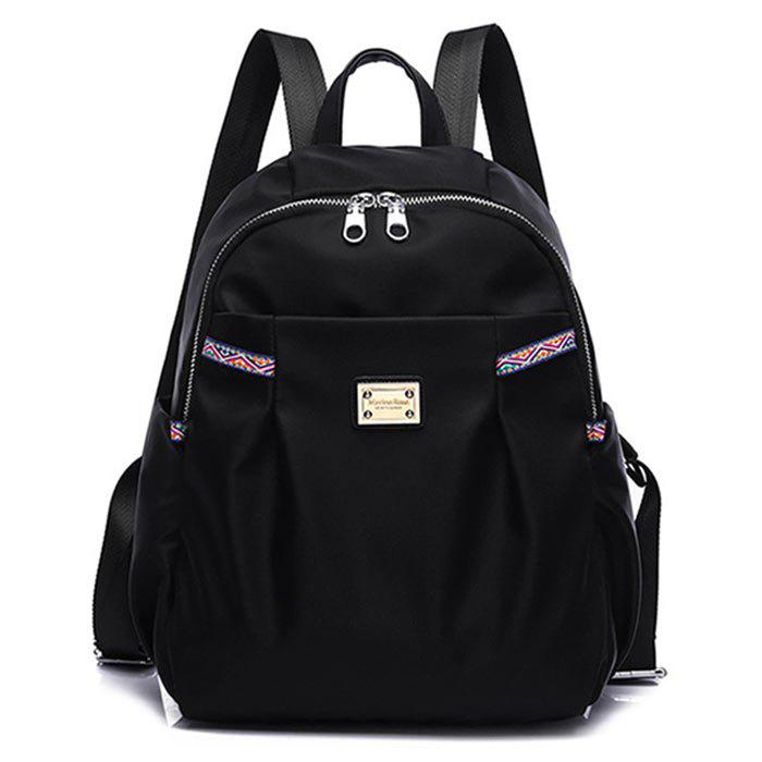Nylon Backpack with Ethnic Trim - BLACK