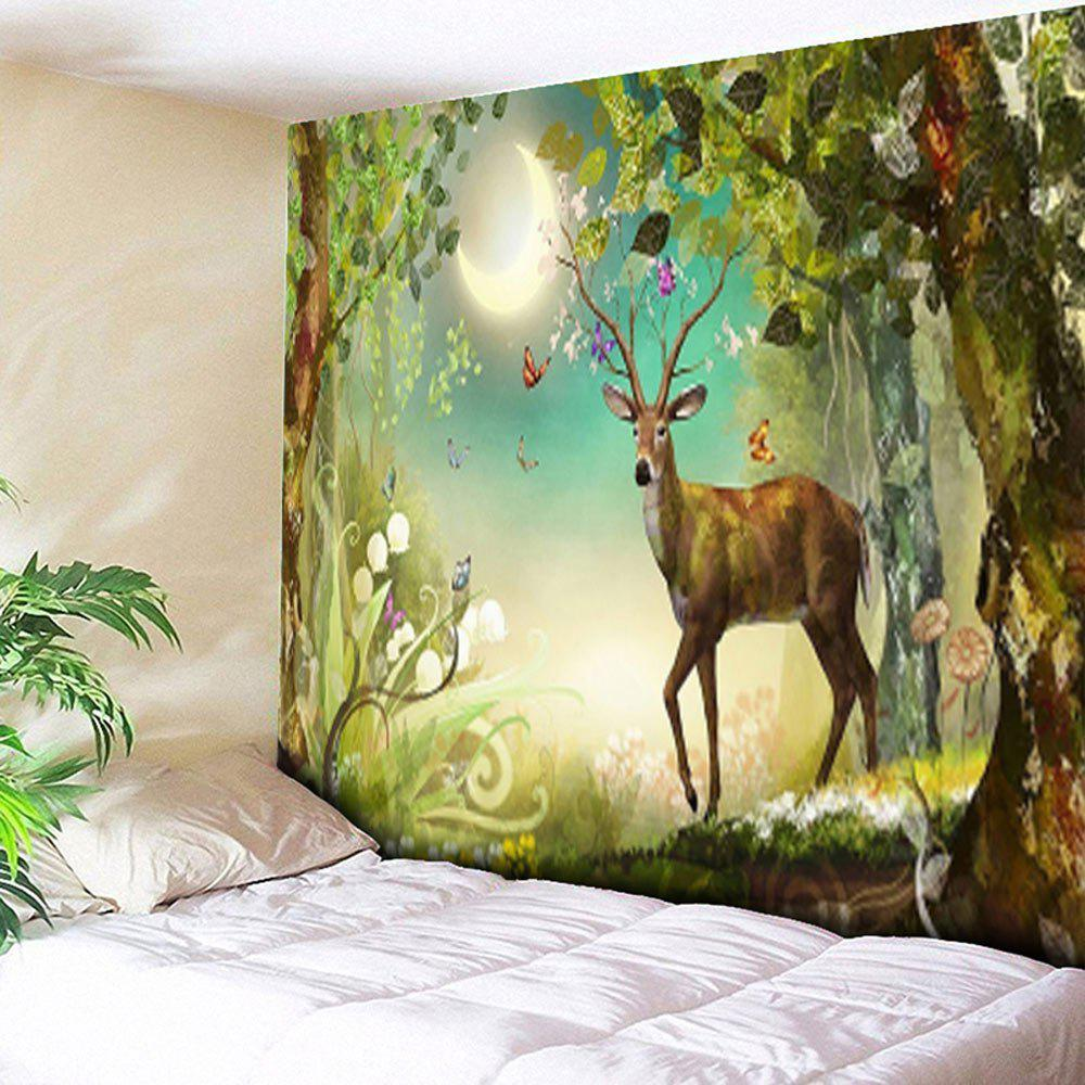 Forest Deer Printed Tapestry Animal Wall Hanging