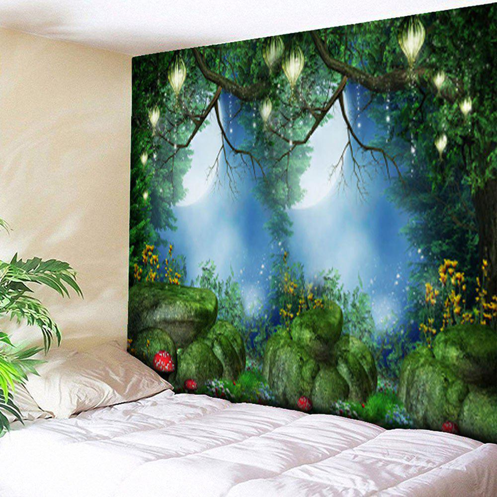 Wall Hanging Forest Printed Bedroom Tapestry   GREEN W59 INCH * L51 INCH