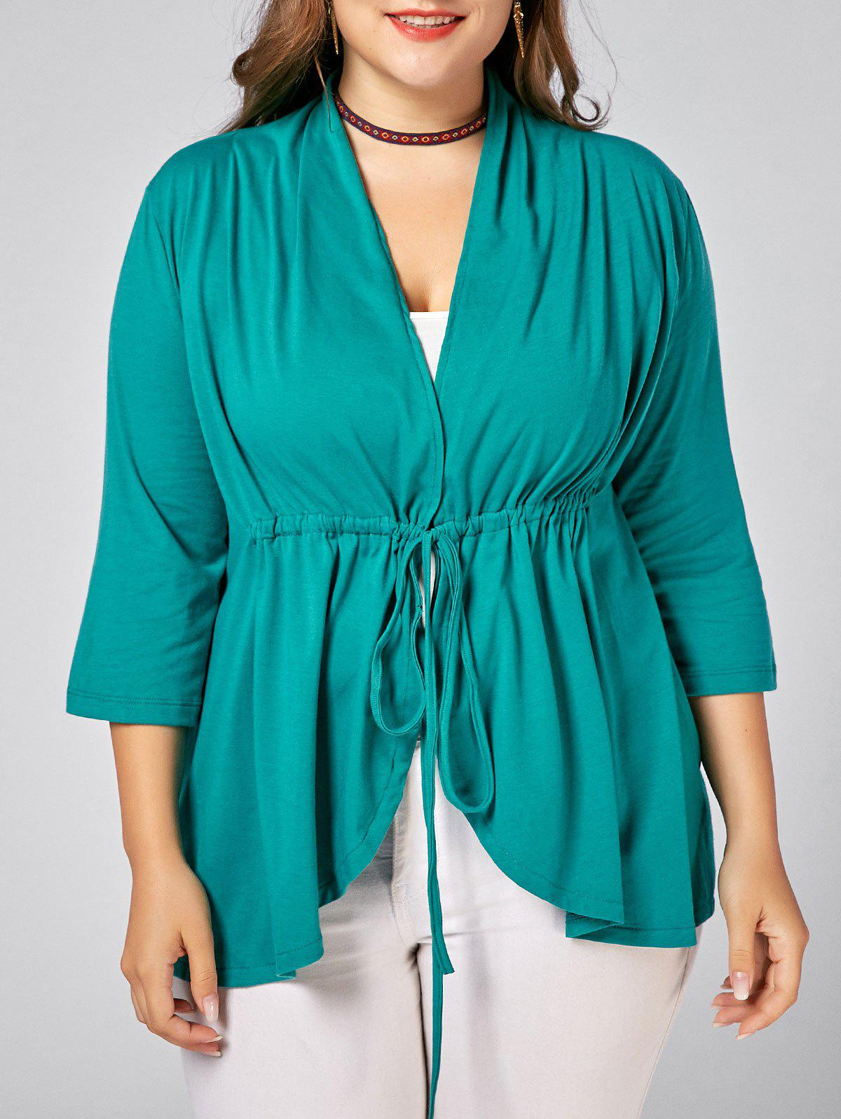 Drawstring Plus Size V Neck Peplum Top - PEACOCK BLUE 2XL