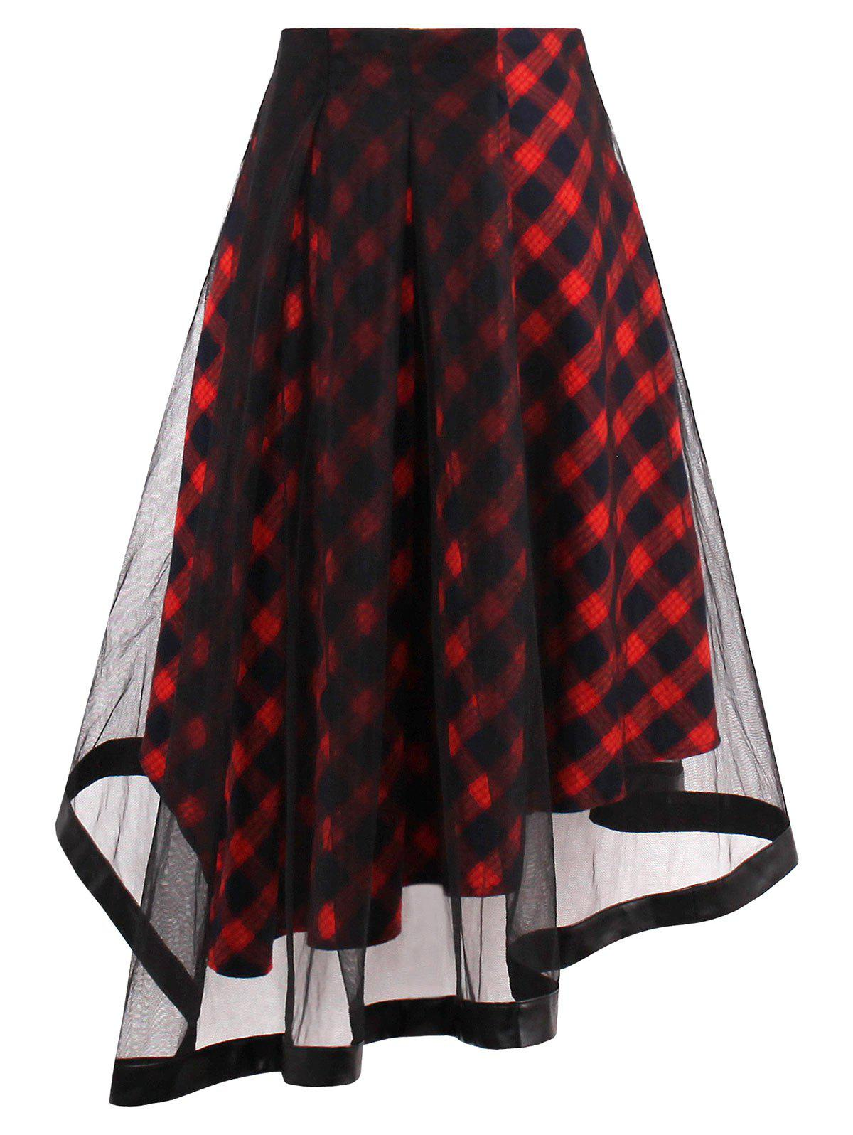 Sheer Yarn Insert Asymmetrical Tartan Midi Skirt - RED XL