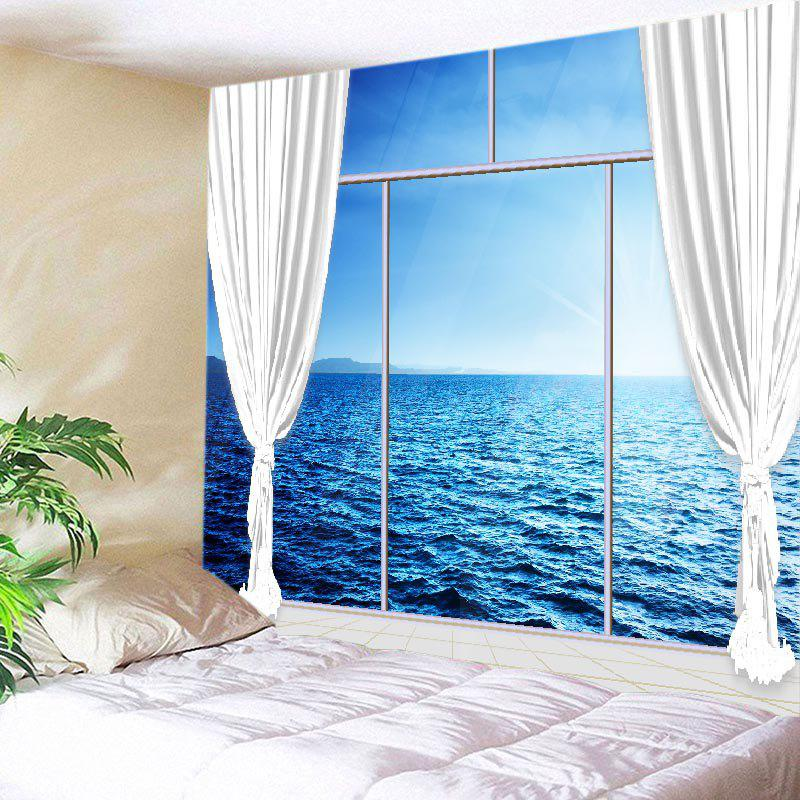 French Window Ocean Print Tapestry Wall Hanging Art wall hanging art decor window ocean print tapestry
