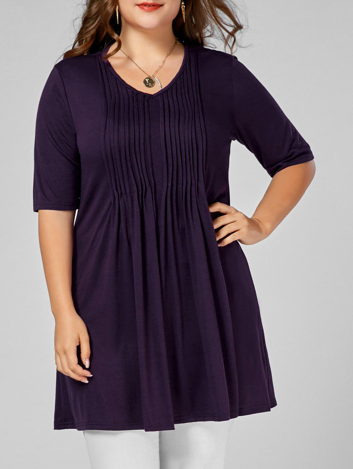 V Neck Plus Size Tunic Tee - DEEP PURPLE 4XL