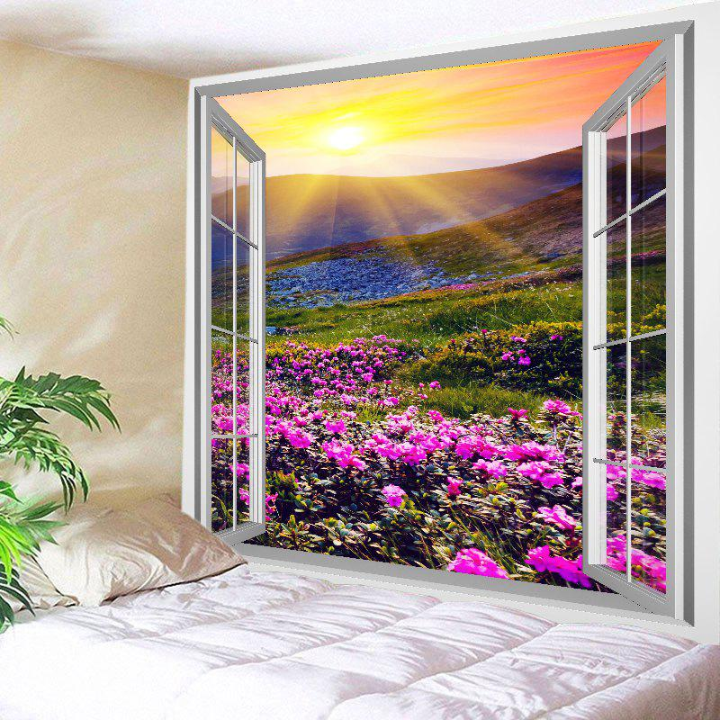 Window Sun Flower Print Tapestry Wall Hanging Art window scenery flower mountain print wall art tapestry