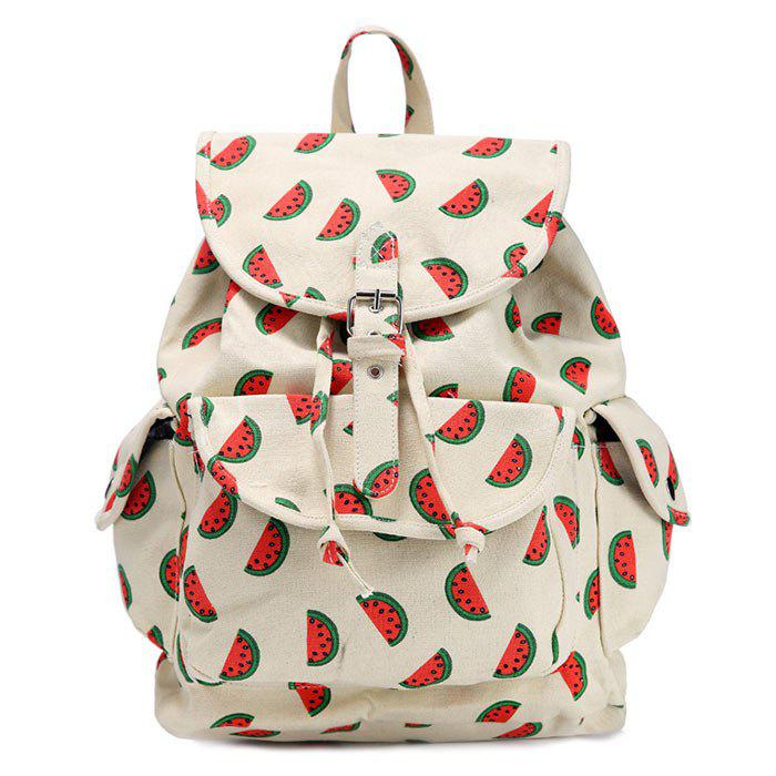 Fruit Printed Canvas Backpack - RED