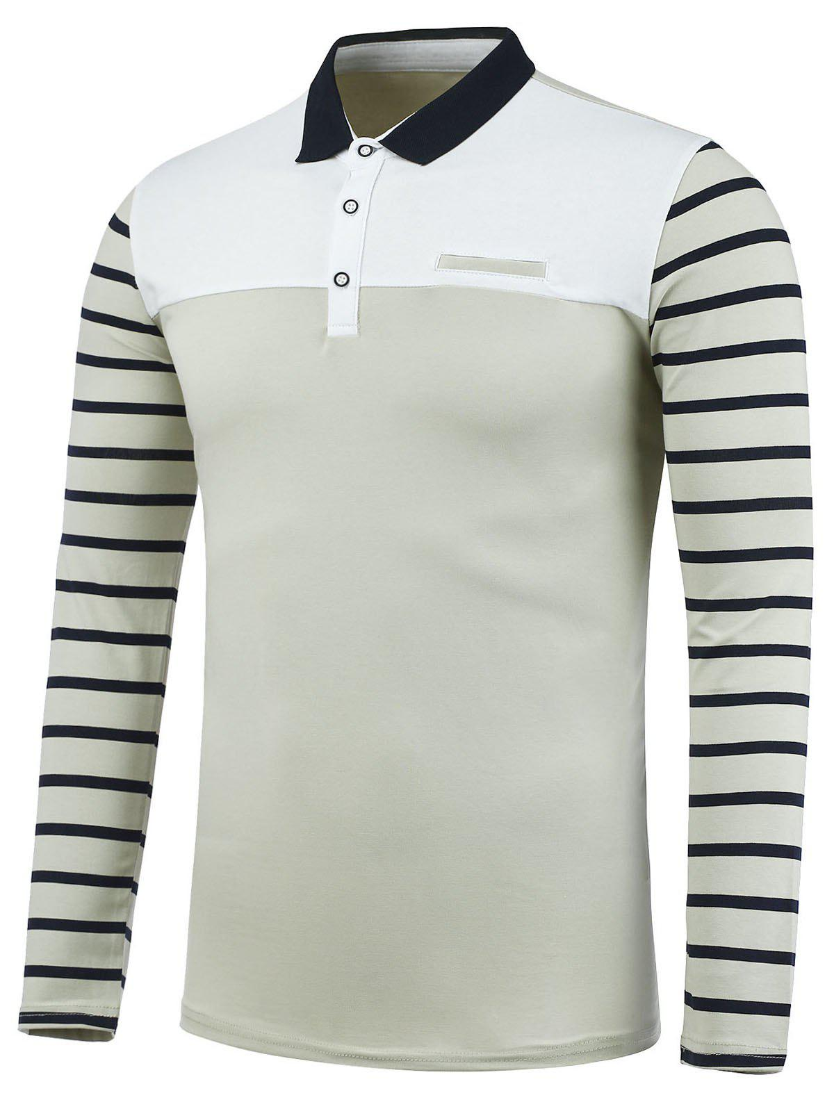 Chemise Polo  à Rayures avec Fausses Poches - [