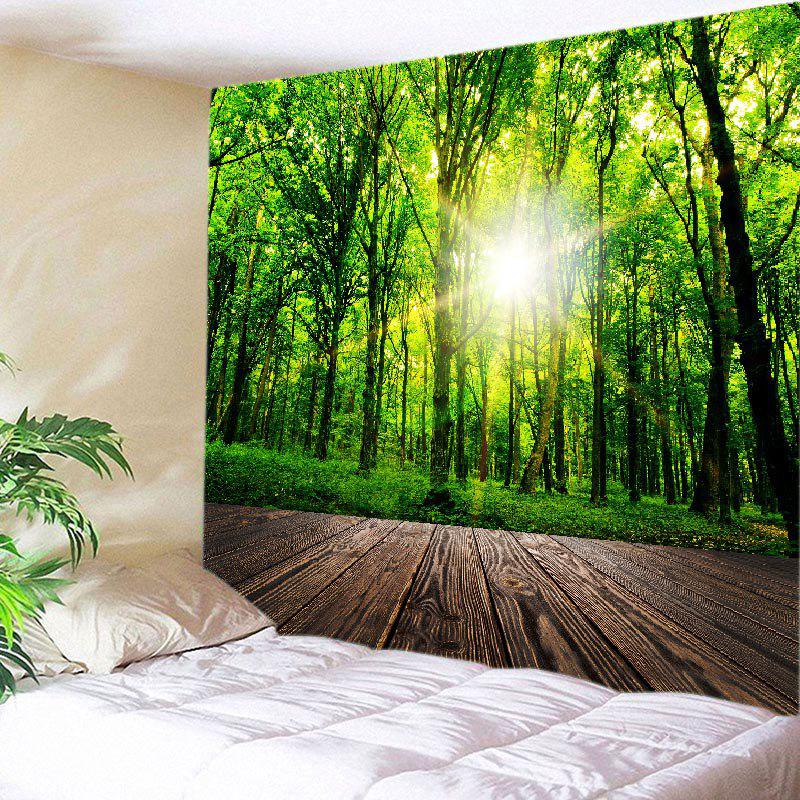 Forest Wood Flooring Print Tapestry Wall Hanging Art forest wooden bridge print tapestry wall hanging art