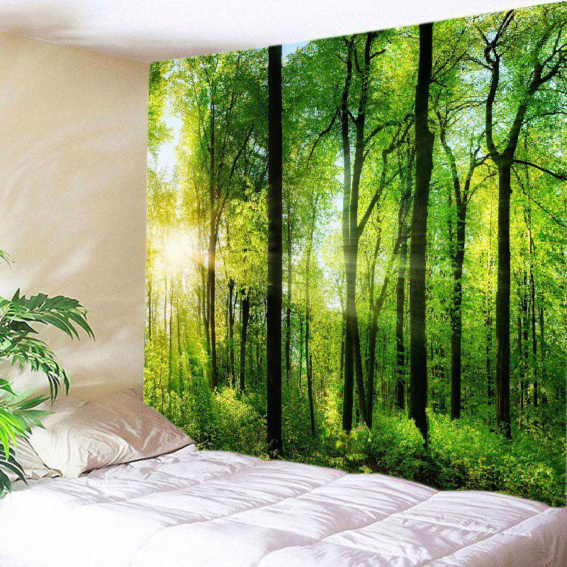 Sun Forest Print Tapestry Wall Hanging Art - GREEN W79 INCH * L71 INCH