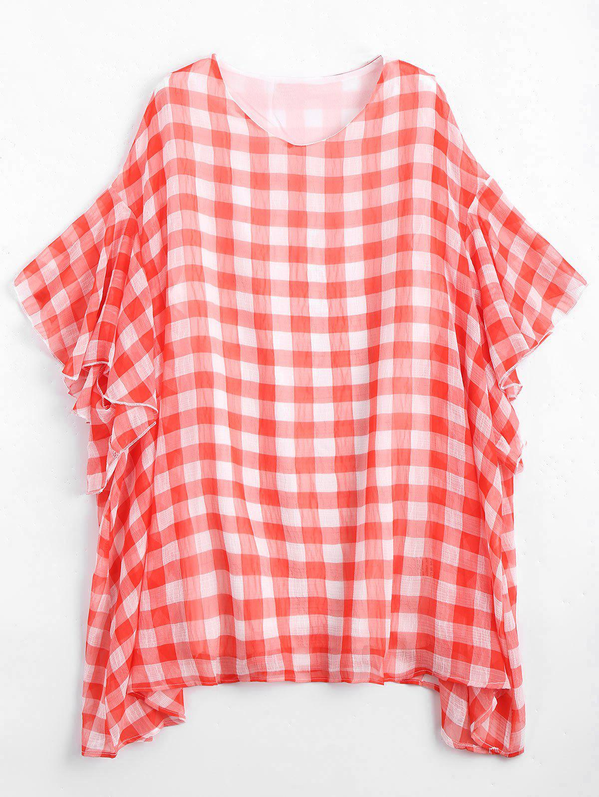 Plus Size Flounce Checked Mini Poncho Dress - RED/WHITE ONE SIZE