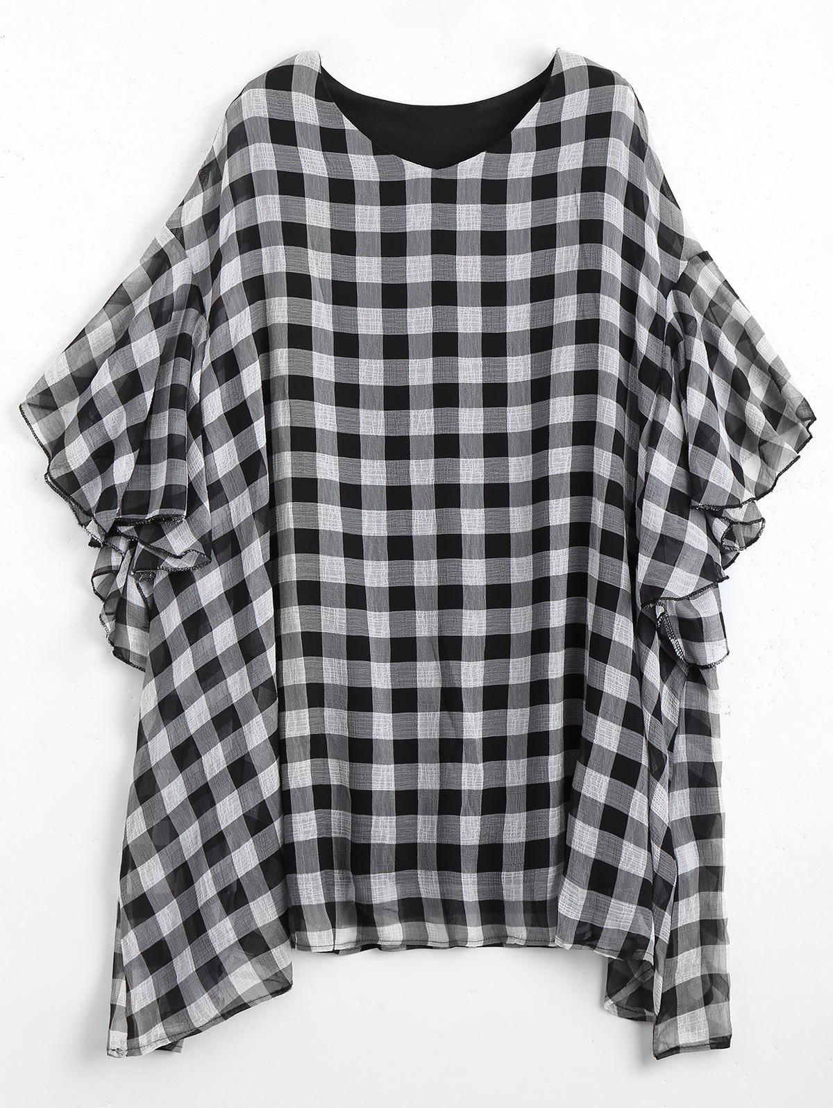 Plus Size Flounce Checked Mini Poncho Dress - GREY/WHITE ONE SIZE