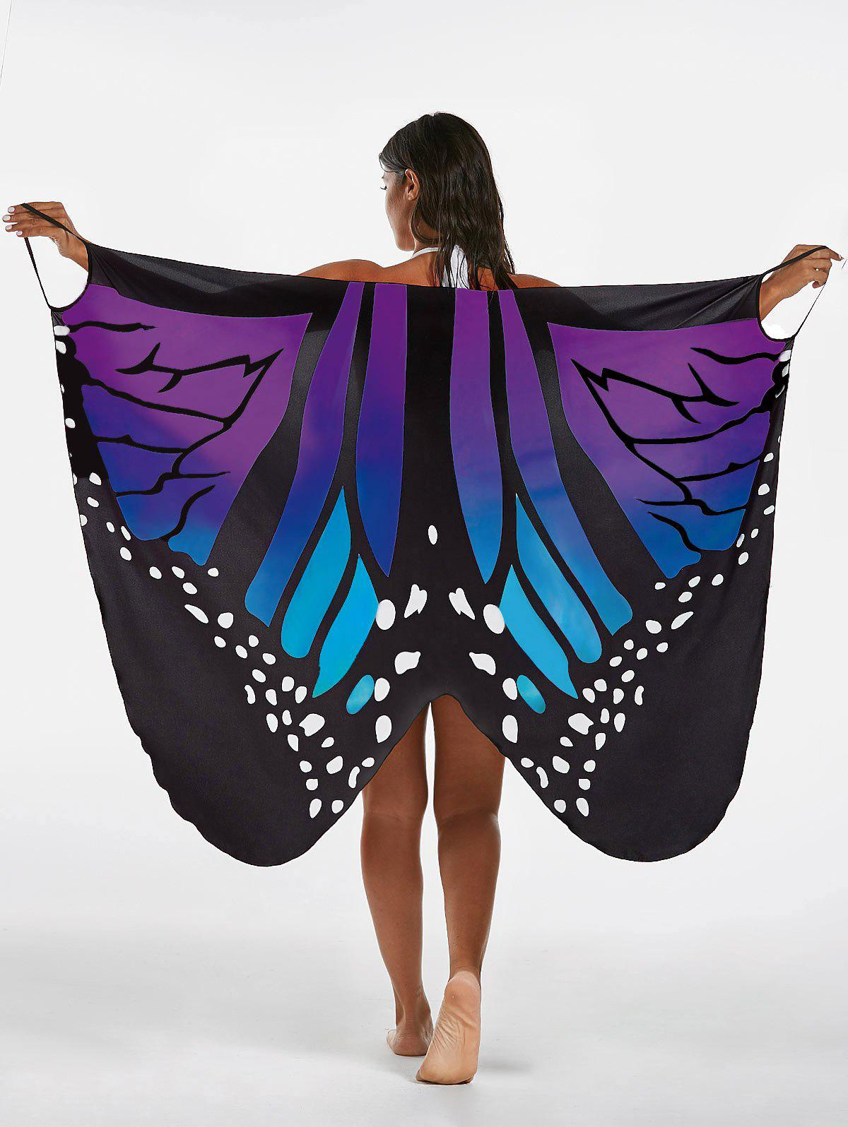 Butterfly Print Beach Wrap Cover Up Dress - BLUE / PURPLE XL