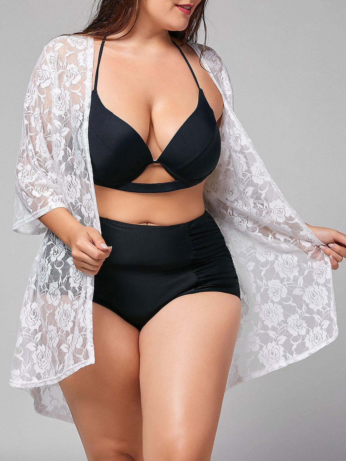 Plus Size Lace Sheer Kimono Cover-up sheer lace panel plus size leggings