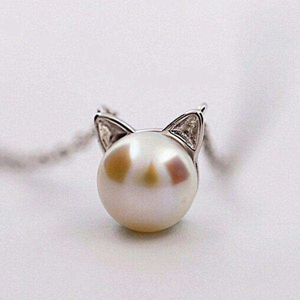Faux Pearl Kitten Charm Tiny Necklace - Argent