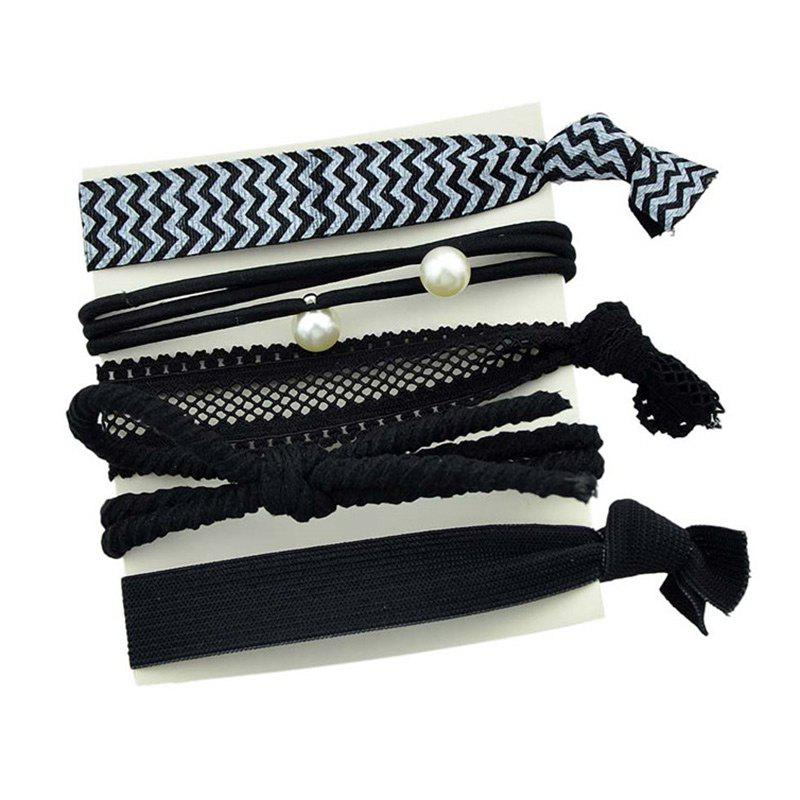Faux Pearl Bowknot Elastic Hair Band Set - BLACK