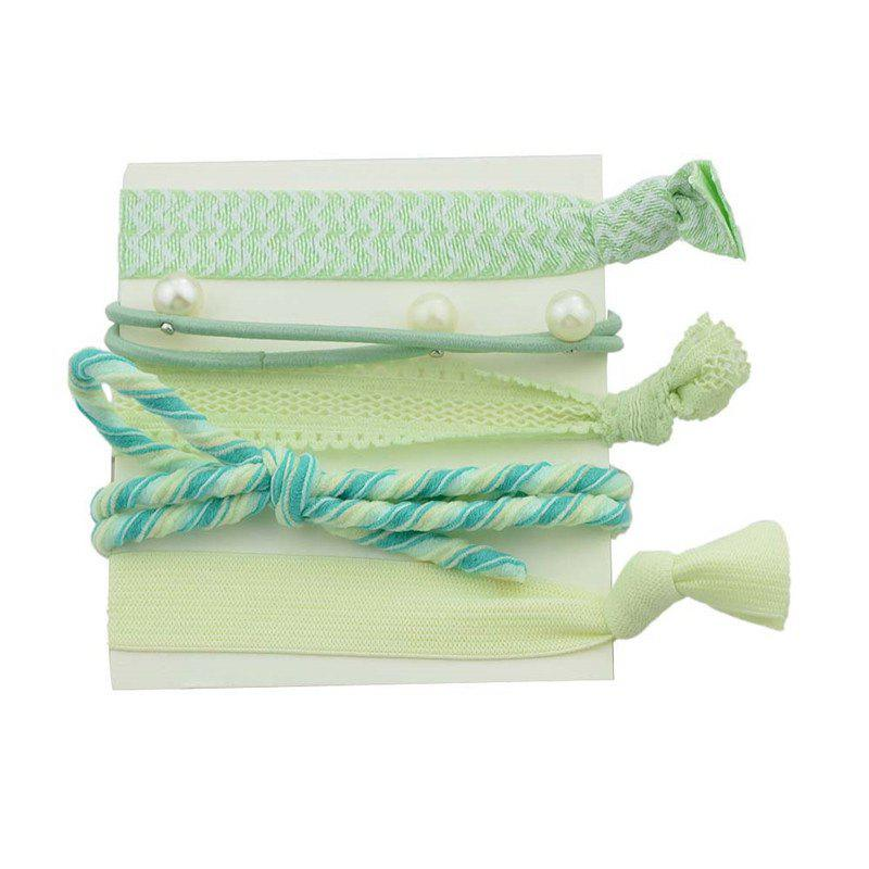 Faux Pearl Bowknot Elastic Hair Band Set - GREEN