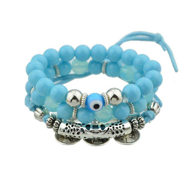 Eye Coin Beaded Charm Bracelet Set - BLUE