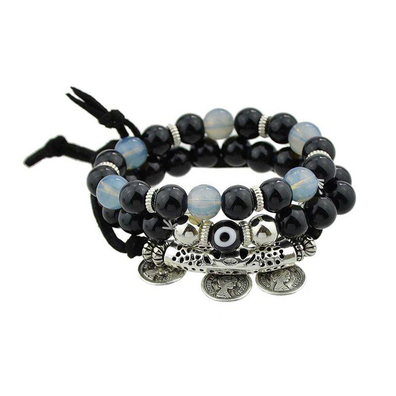 Eye Coin Beaded Charm Bracelet Set - BLACK
