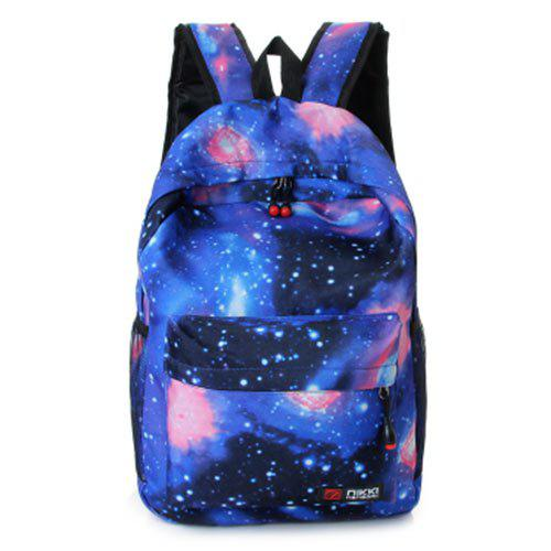 Padded Strap Galaxy Printed Backpack - BLUE