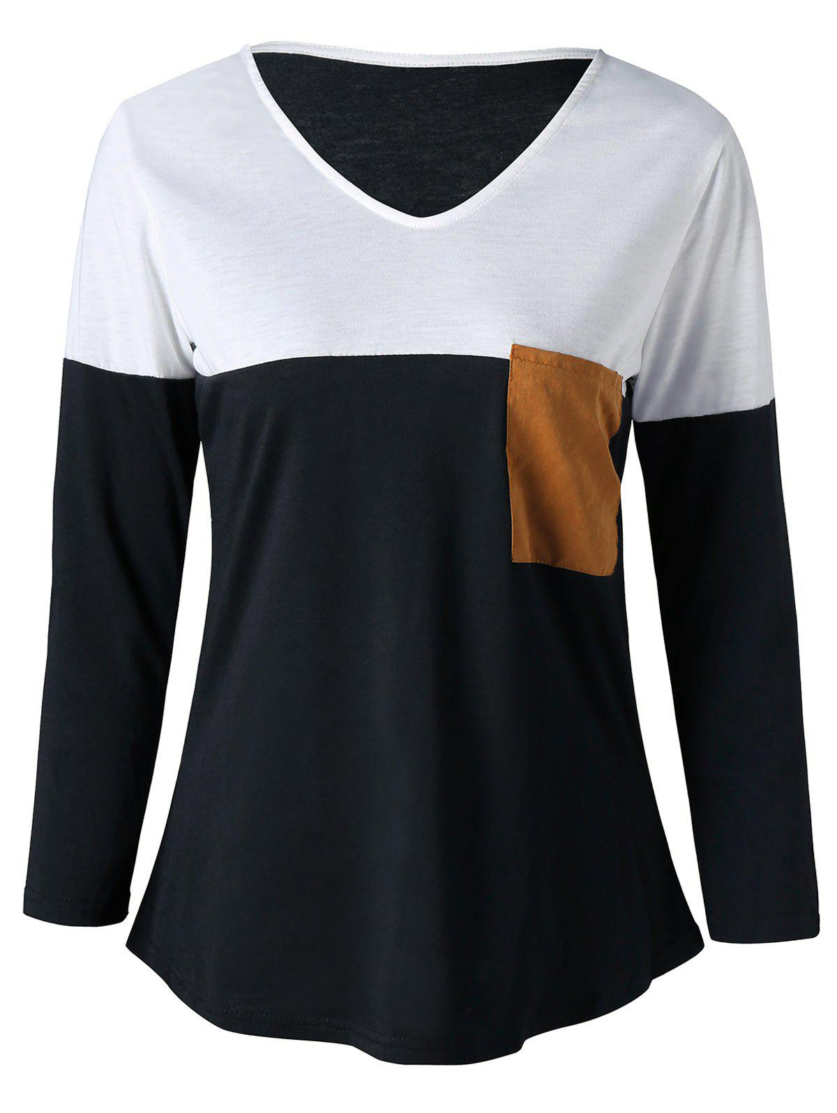 V Neck Elbow Patch Top dark grey elbow patch round neck long sleeves top