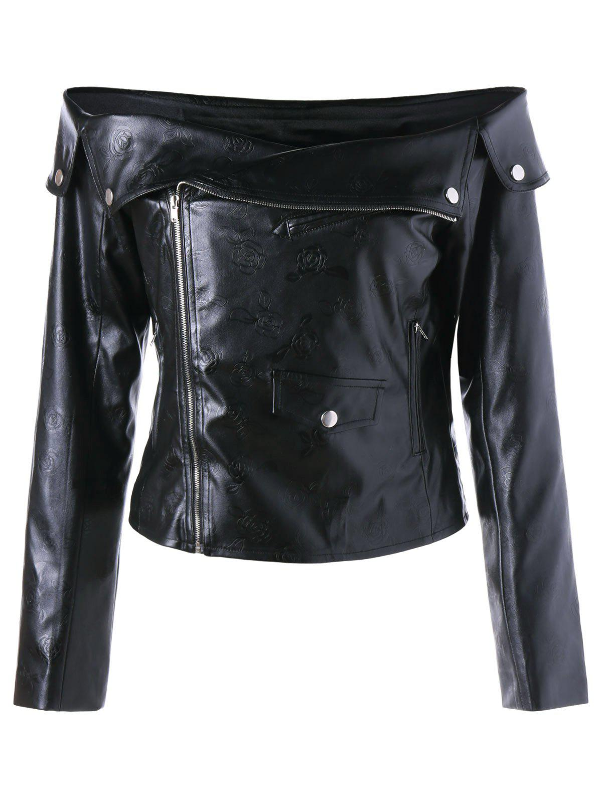 Zip Up Off The Shoulder Jacket - BLACK M