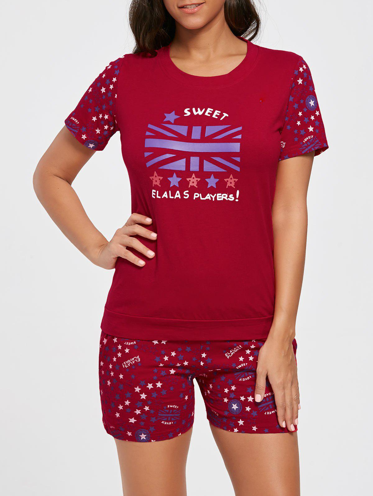 Stars Print Cotton Sleepwear Set - RED M