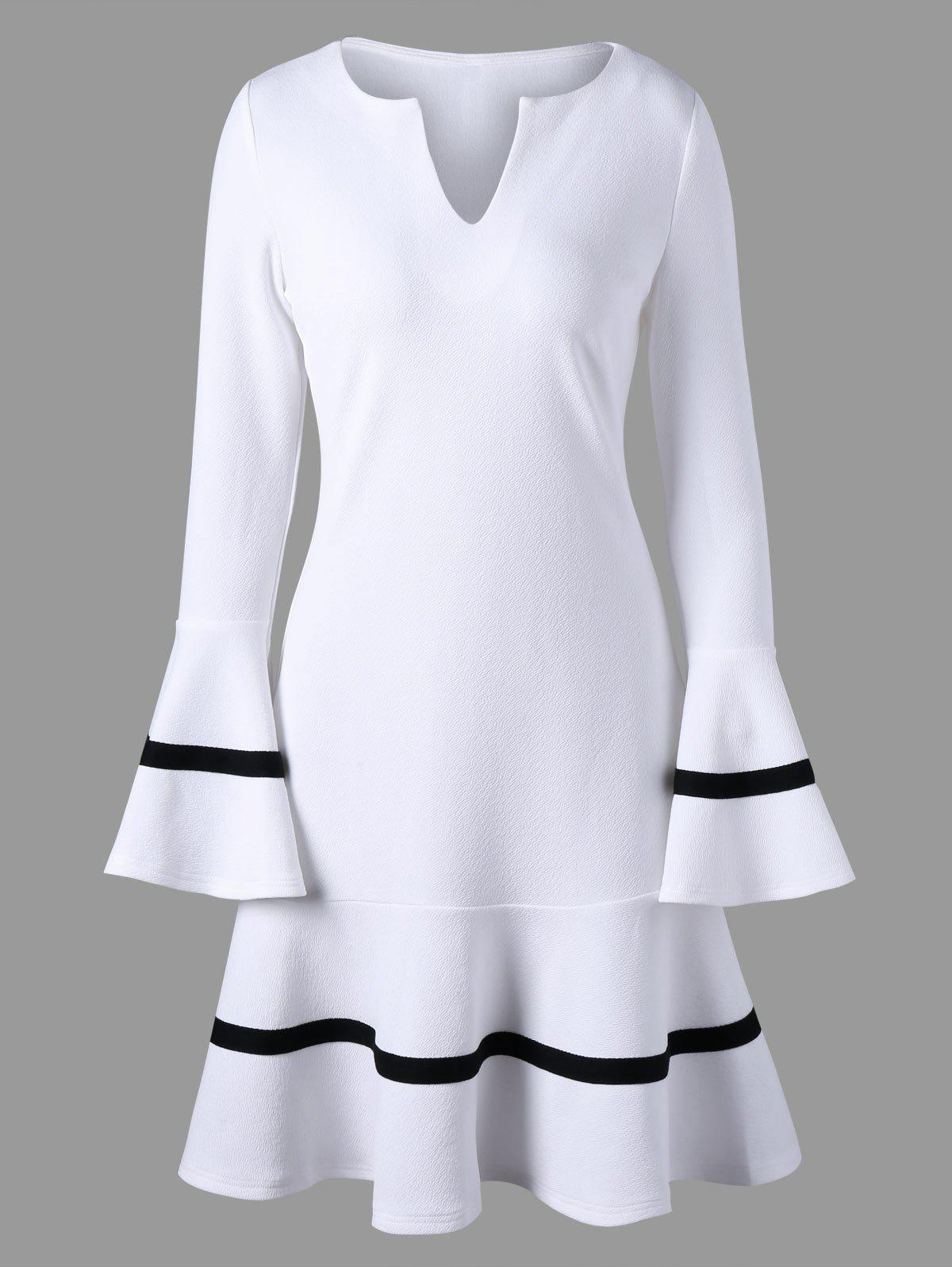 Split-Neck Flare Sleeve Dress - WHITE 2XL