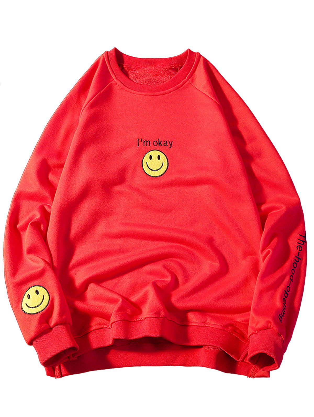 Graphic Smile Face Embroidered Sweatshirt smile face embroidered high low t shirt