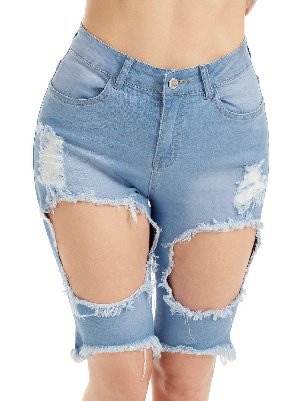 Denim High Waist Ripped Bermuda Shorts - BLUE XL