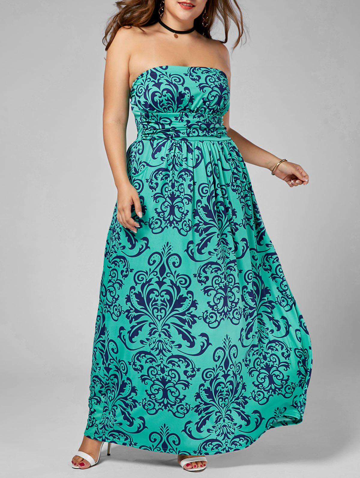 Printed Floor Length Plus Size Strapless Dress - multicolor 5XL